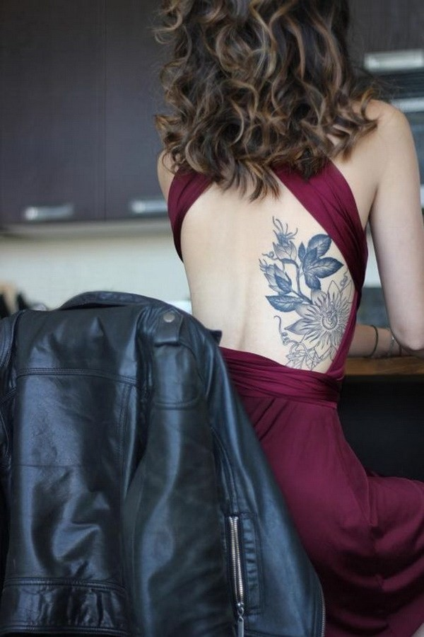 Passionflower-Side-Back-Tattoo 60 Awesome Back Tattoo Ideas