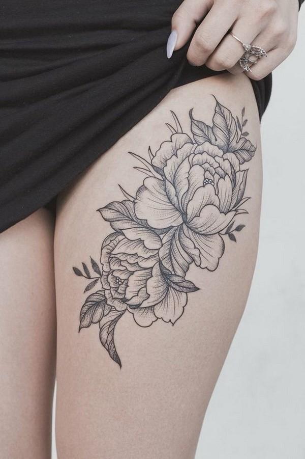 Peony-Flower-Thigh-Tattoo Pretty Flower Tattoo Ideas