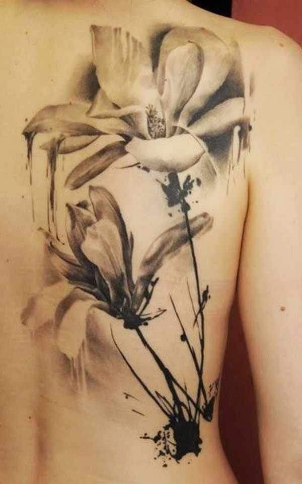 Vintage-Black-And-White-Watercolor-Tattoo Pretty Flower Tattoo Ideas