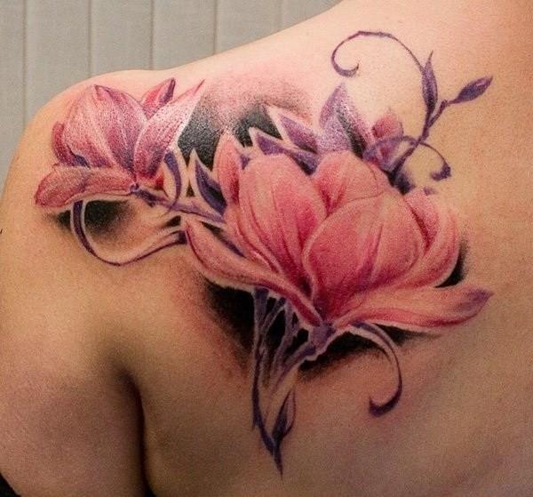 Watercolor-Magnolia-Flower-Tattoo Pretty Flower Tattoo Ideas