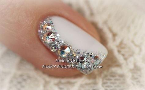 wedding-ideas-wedding-inspiration Wedding Nails French Rhinestones Gems They Are Totally Popular Right Now