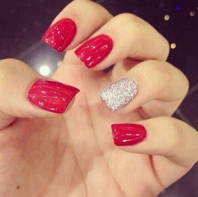 You-can-have-this-design-by-painting-all-your-nails-with-glittery-red-except-the-one-that-is-kept-blank-to-be-accentuated.-Then-use-silver-glitters-on-the-accent-nail.-1 2020 Fantastic Nail Design Ideas with Simple Accents