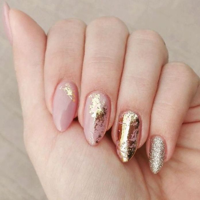 gold-foil-gorgeous-nails-nude-base-almond-glitter 2020 Fantastic Nail Design Ideas with Simple Accents