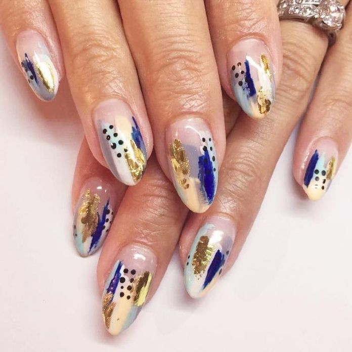 gold-foil-gorgeous-nails-oval-blue-abstract-design 2020 Fantastic Nail Design Ideas with Simple Accents