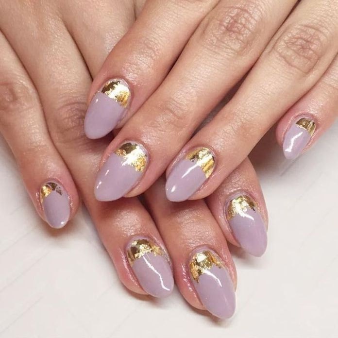 gold-foil-gorgeous-nails-oval-lavender-base-ruffian 2020 Fantastic Nail Design Ideas with Simple Accents