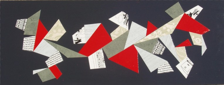 """""""Note to Self - Please File"""" mixed media collage on board (framed), 26 x 9 inches, $135"""