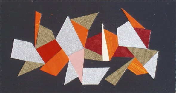 mixed media collage on board, 4 x 7 inches, SOLD