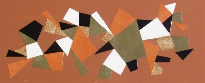 """""""Momentary Stabilzation with Orange & Wood"""" mixed media collage on board (framed), 21 x 8 inches, $100"""