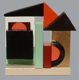 """Object-Haus"" painted wood assemblage 13 x 13 inches donated to Space Gallery auction"