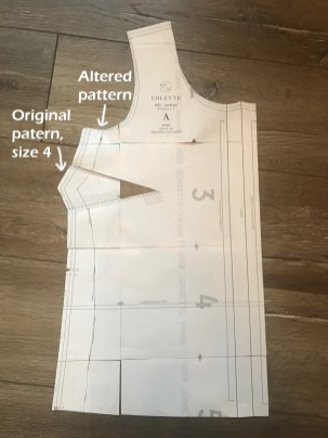 Paper pattern, marked with alterations