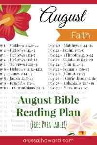 August Bible Reading Plan (Faith) | alyssajhoward.com