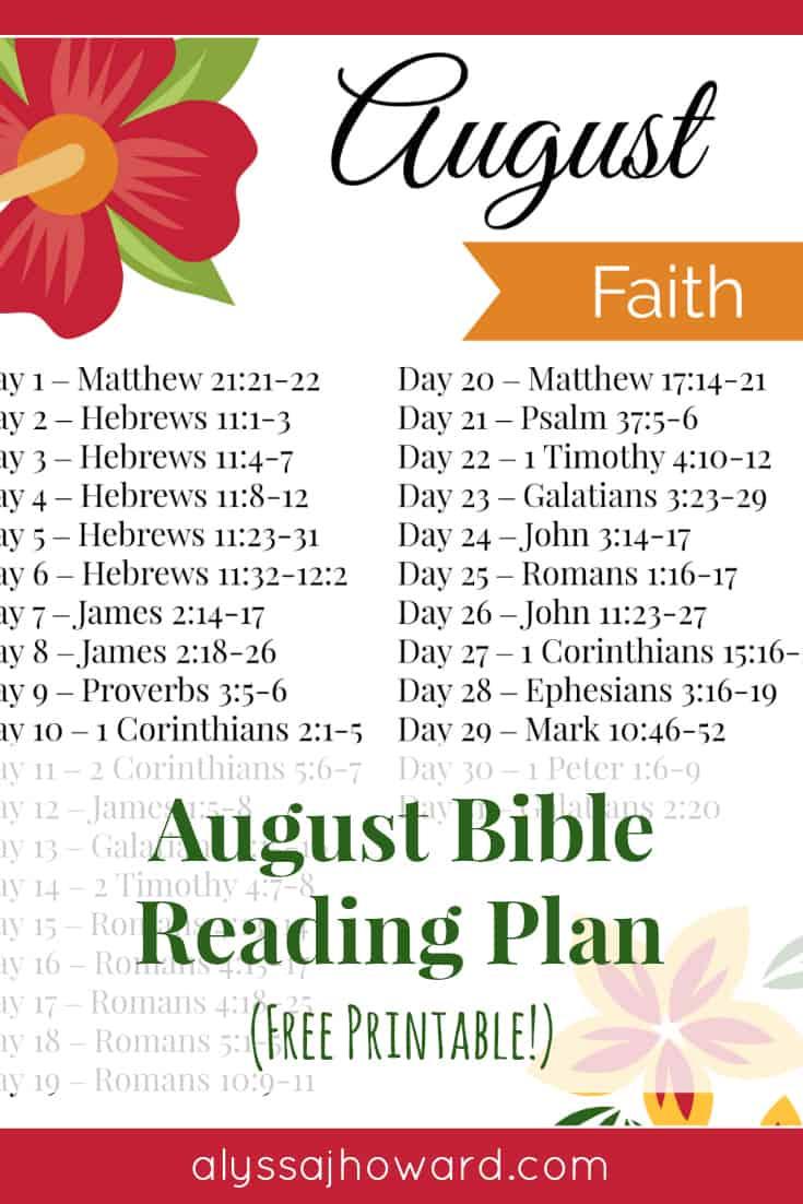 August Bible Reading Plan (Faith) | alyssajhoward.com