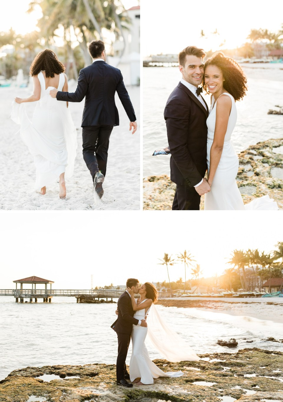 Bride and groom portraits on the beach in Key West