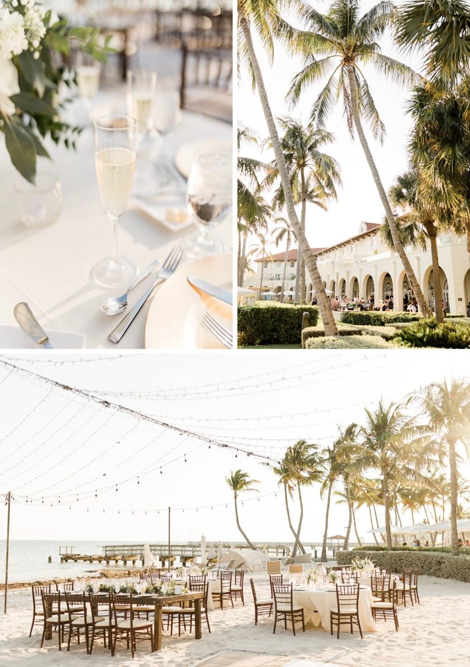 Beach wedding reception at Waldorf Casa Marina Resort