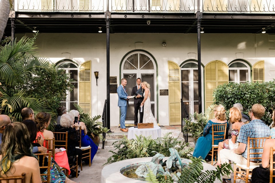 Outdoor wedding ceremony at the Hemingway Home