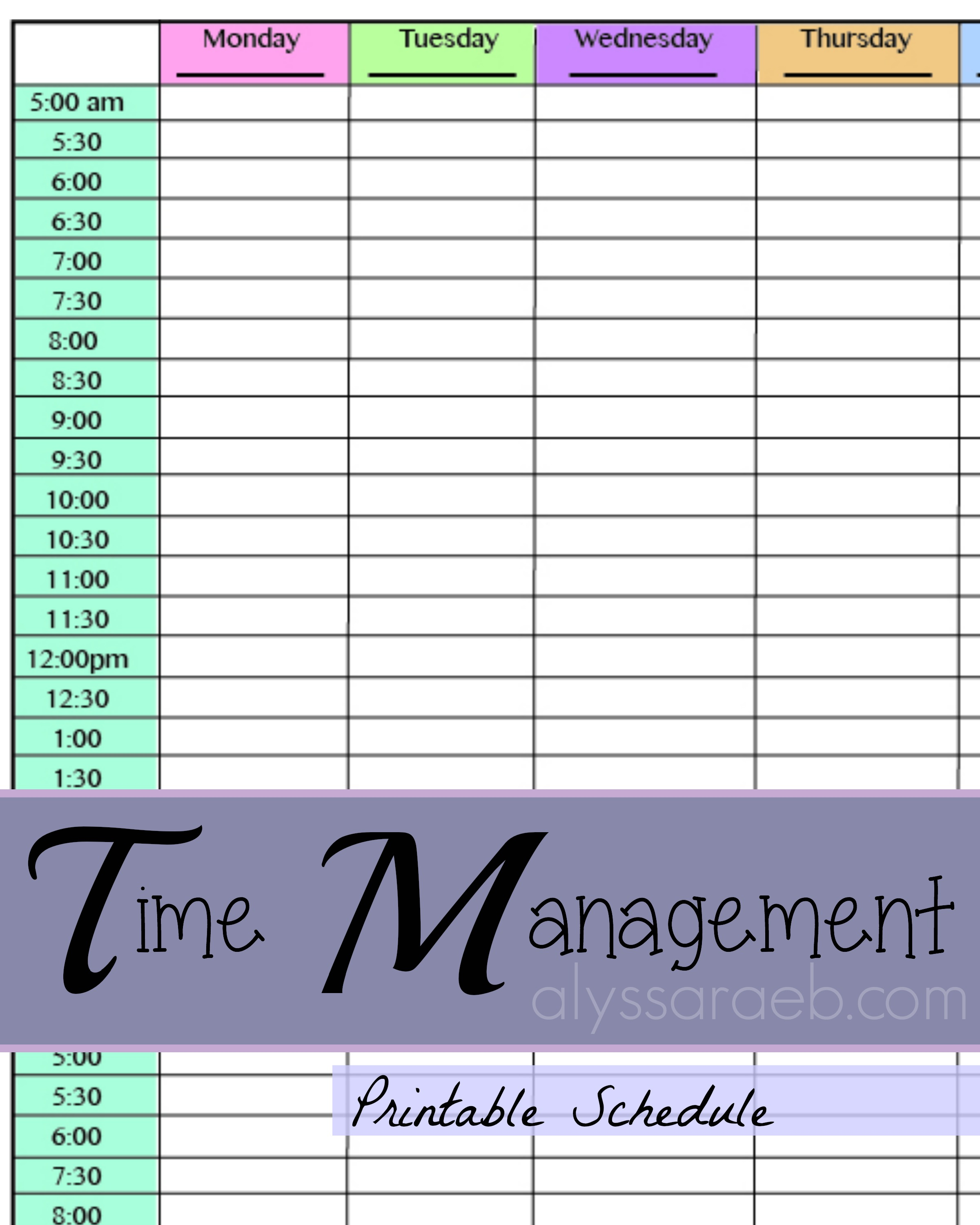 Printable Schedule Alyssa Rae