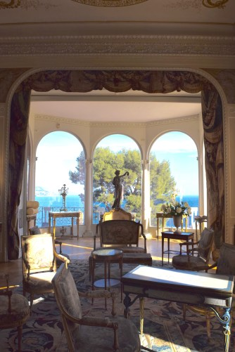 The baroness's sitting room, overlooking the Mediterranean
