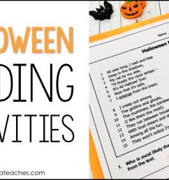 Halloween Reading Activities for 4th Grade - Alyssa Teaches [ 832 x 1499 Pixel ]