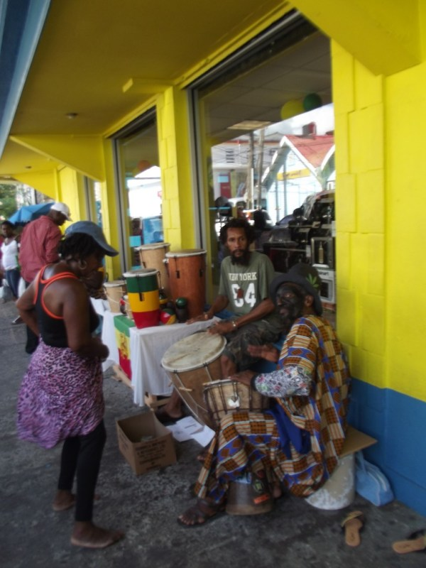 Drumming on the street in Roseau