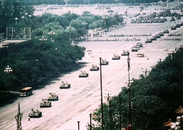 "Long range photo of ""Tank Man"" Photo by Stuart Franklin"