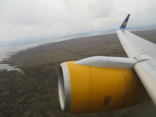 Flying over Reykjavik, IcelandAir wing