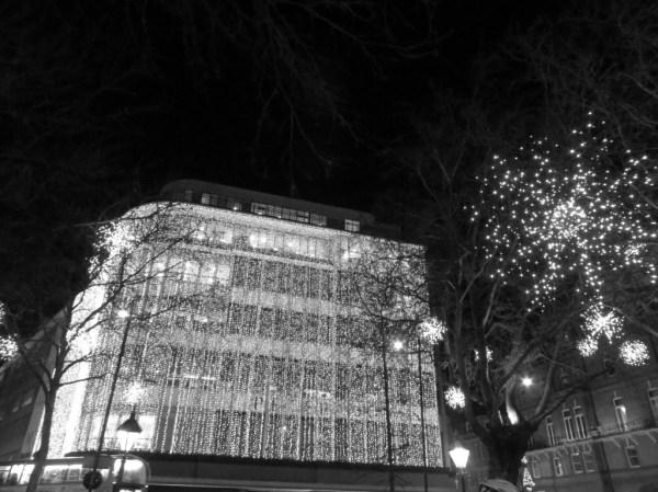 Peter Jones Christmas lights, Sloane Square, London, Christmas lights bicycle tour in London