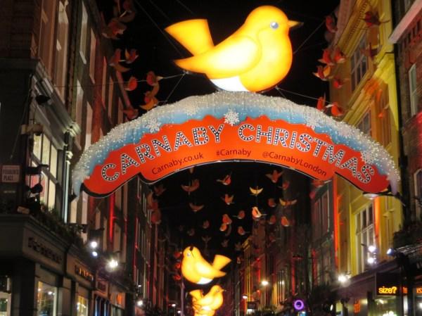 Carnaby street Christmas lights, Soho, London, bicycle tour, Christmas lights bicycle tour in London