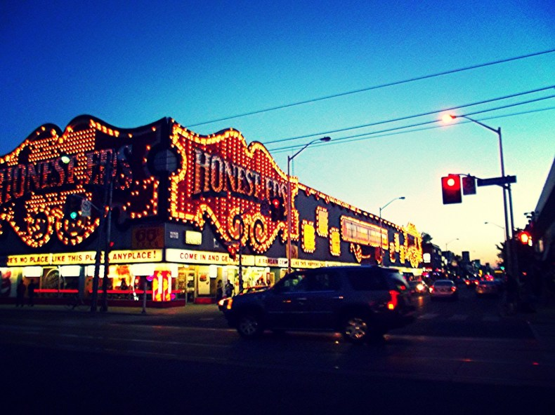Honest Ed's at dusk