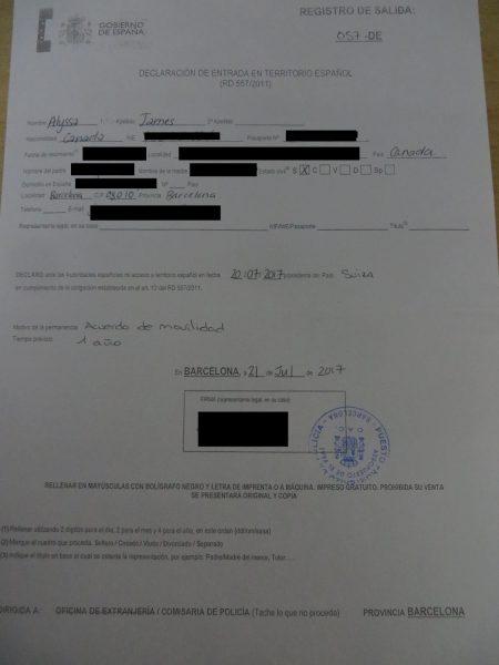 declaracion de entrada espana, youth mobility visa spain canada
