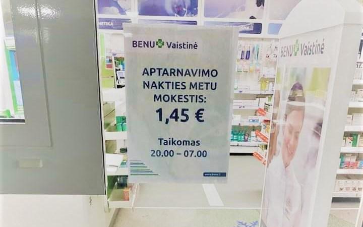 """""""Aptarnavimo nakties metu mokestis 1,45 € taikomas 20-7 val."""", - perspėja vaistinė"""
