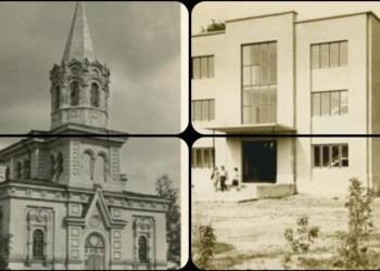 Alytaus Šv. Kazimiero bažnyčios pastatas ketvirtame (nuotraukoje – kairėje) ir septintame (dešinėje) XX amžiaus dešimtmetyje