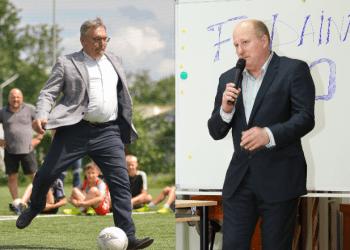 Dvi kadencijas baigęs Alytaus apskrities futbolo federacijos (AAFF) prezidentas G. Daukšys ir naujasis AAFF vadovas R. Kantaravičius