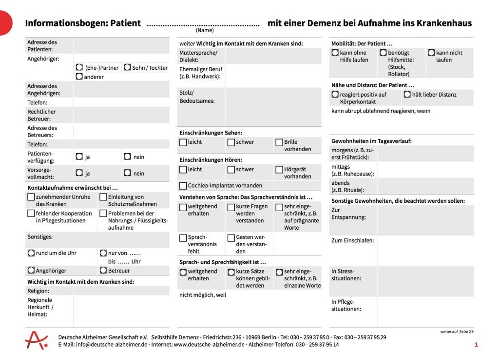Informationsbogen Krankenhaus