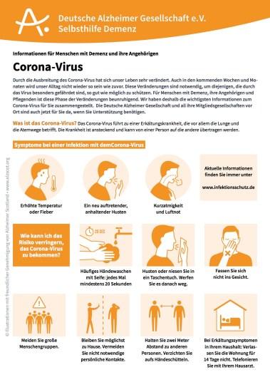 Infoblatt Coronavirus Alzheimer-Gesellschaft