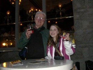 Jenni and her Granddaddy sharing a drink