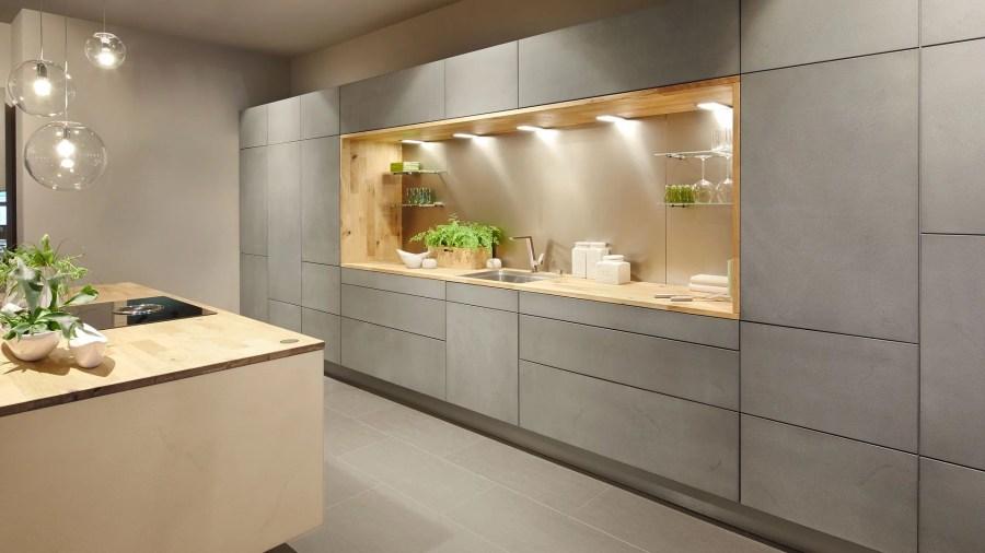 cuisine équipée design béton et bois am-agencements