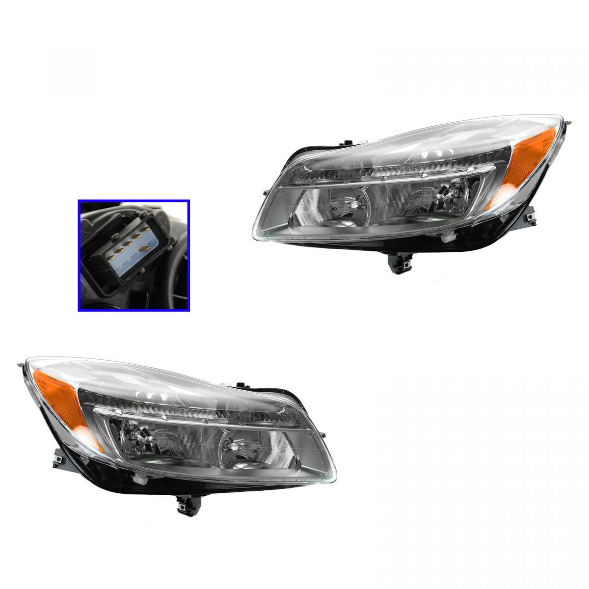 hight resolution of headlights headlamps left lh right rh pair set for 11 13 buick regal