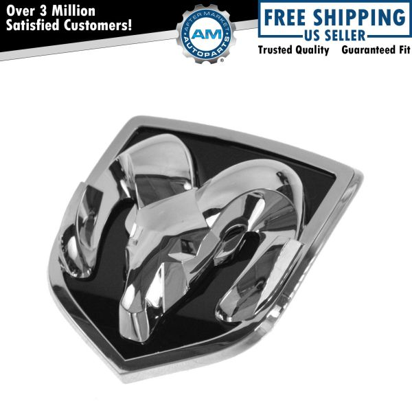 Mopar Adhesive Rams Head Chrome Black Grille Emblem 02