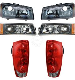 headlight tail light parking lamp front rear kit for 02 06 chevy avalanche new [ 1200 x 1200 Pixel ]