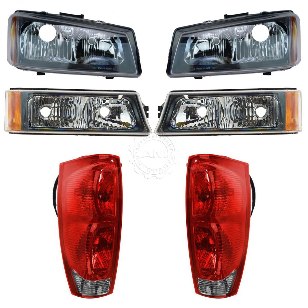 medium resolution of headlight tail light parking lamp front rear kit for 02 06 chevy avalanche new