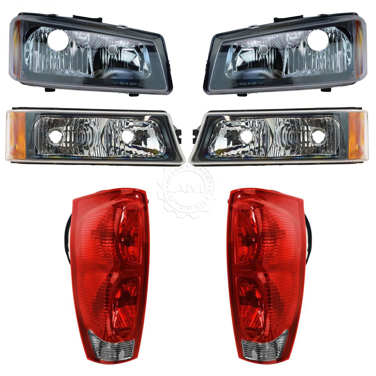 hight resolution of headlight tail light parking lamp front rear kit for 02 06 chevy avalanche new