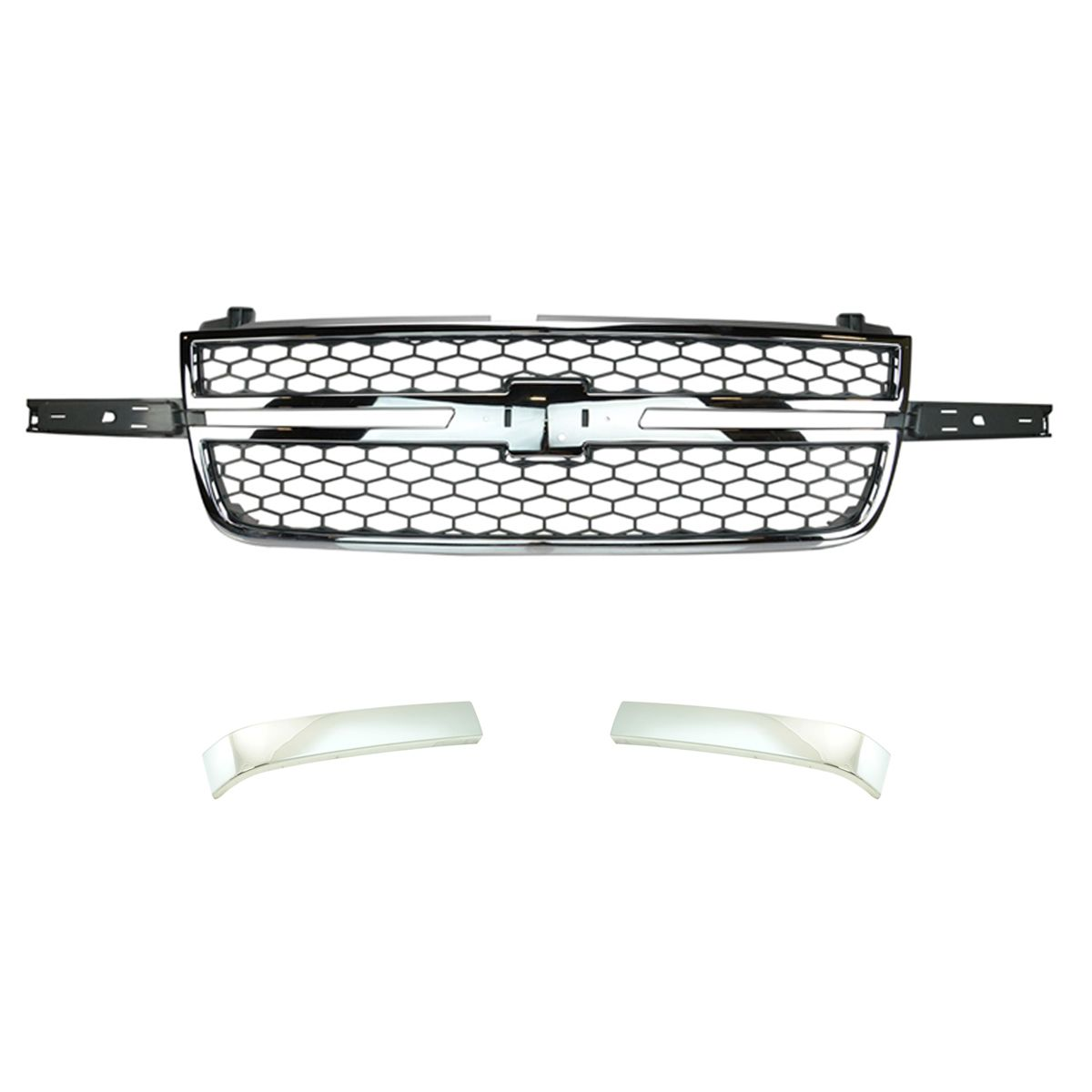 Front Chrome Amp Gray Grille With Molding Trim For Chevy