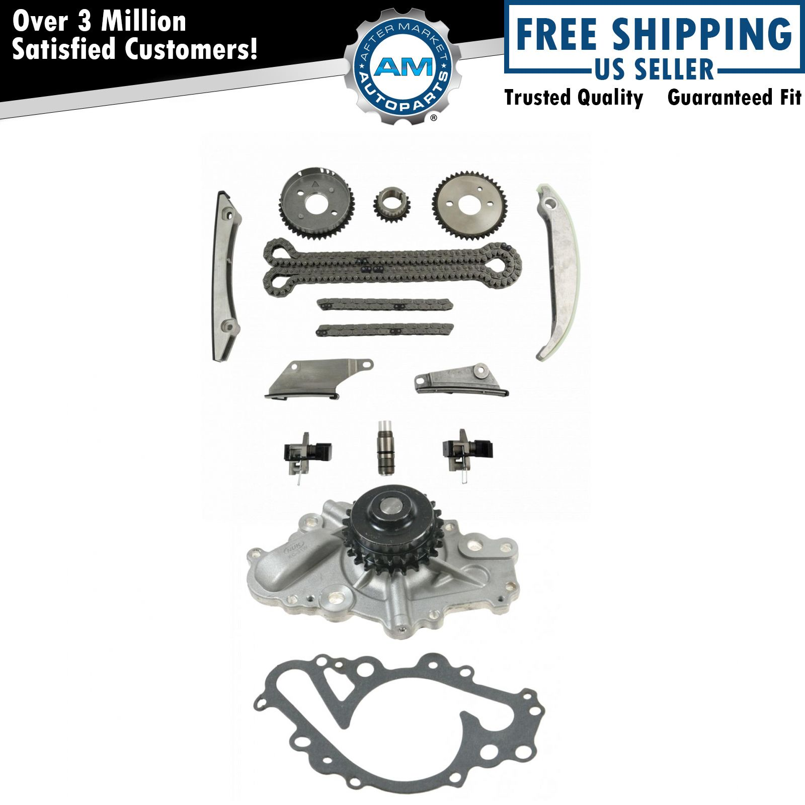 Complete Timing Chain Component Set W Water Pump For Dodge Chrysler 2 7l V6
