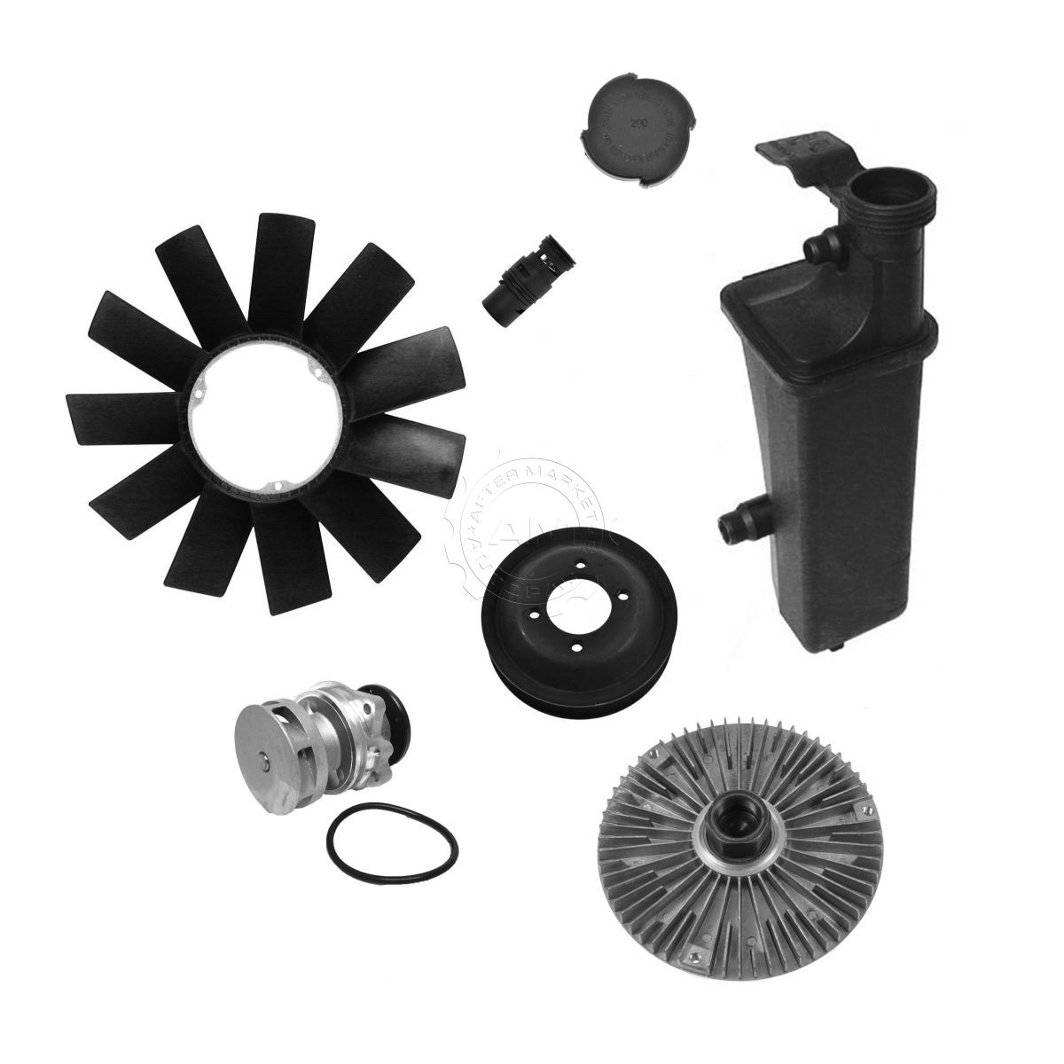 hight resolution of water pump fan clutch blade expansion tank thermostat kit for bmw e46 z3 x3
