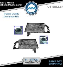 headlights headlamps left right pair set new for 97 99 cadillac deville [ 1600 x 1600 Pixel ]