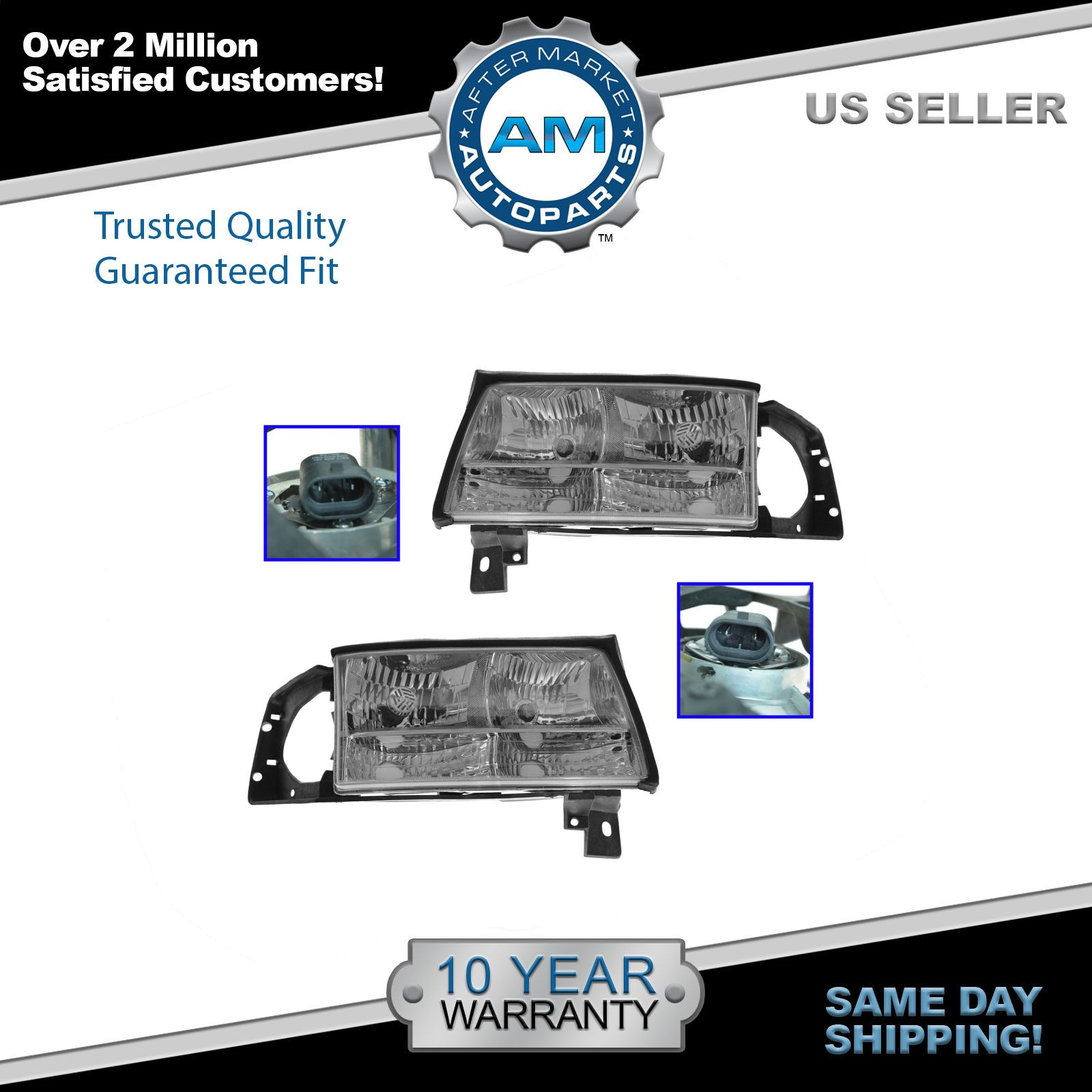 hight resolution of headlights headlamps left right pair set new for 97 99 cadillac deville