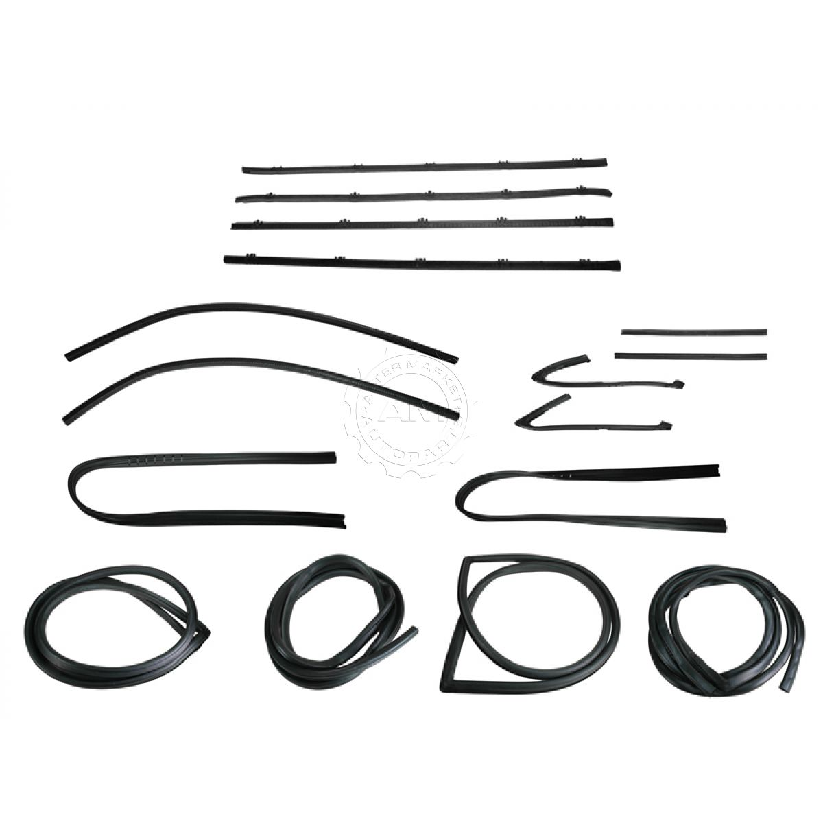 Complete Weatherstrip Seal Kit Set W Black Trim For