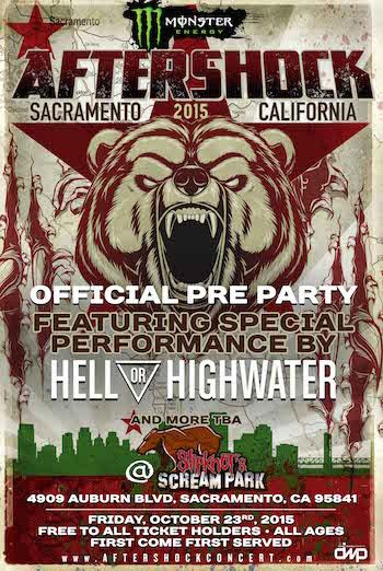 Monster Energy AFTERSHOCK Festival pre-party flyer