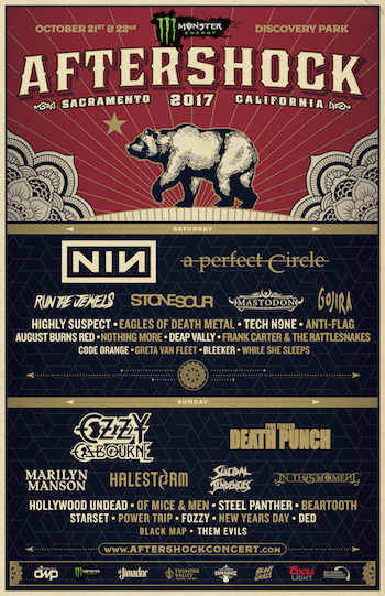 Monster Energy Aftershock 2017 flyer with daily band lineup and venue details