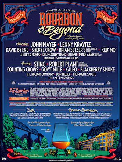 Bourbon & Beyond flyer with music, bourbon and celbrity chef lineups